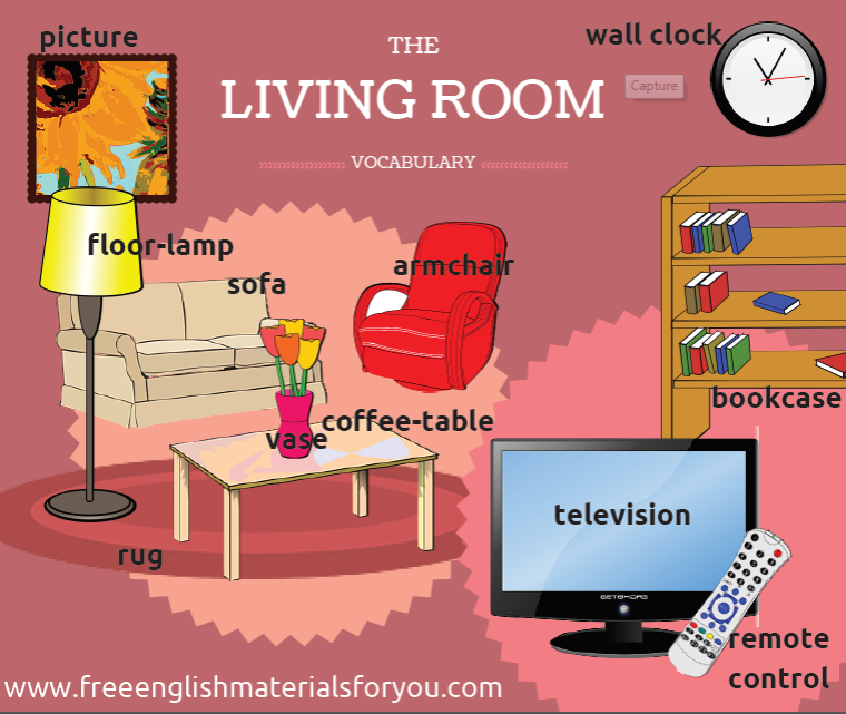 English video free english materials for you for Living room vocabulary