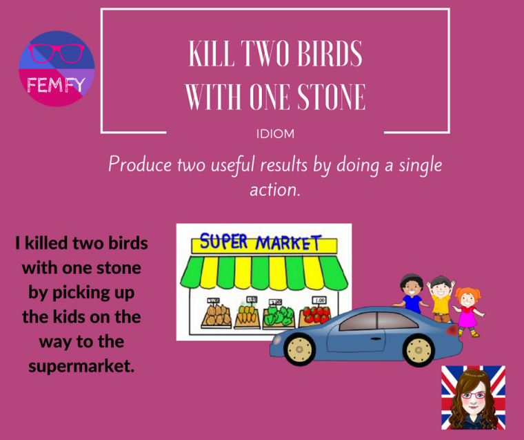 kill two birds with one stone - idiom - femfy - Free English Materials For You.png